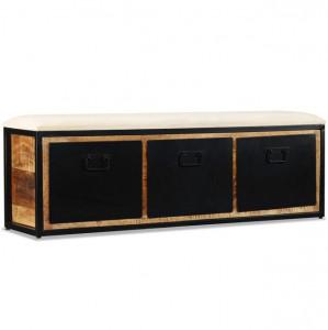 Bancă depozitare 3 sertare, lemn masiv de mango, 120x30x40 cm