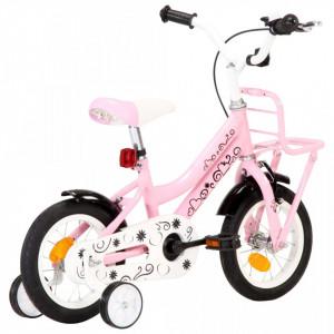 Bicicletă copii cu suport frontal, alb și roz, 12 inci