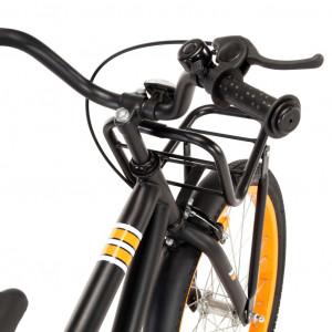 Bicicletă copii cu suport frontal, negru și portocaliu, 18 inci