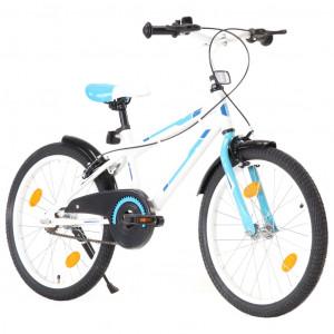 Bicicletă pentru copii, albastru și alb, 20 inci