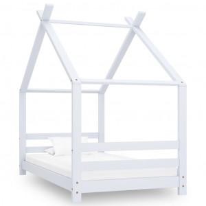 Cadru pat de copii, alb, 80 x 160 cm, lemn masiv de pin