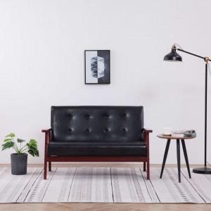 Canapea cu 2 locuri, negru, piele ecologică