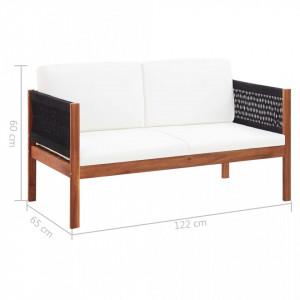 Canapea de grădină cu 2 locuri, lemn masiv de acacia