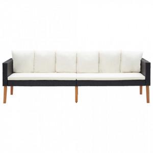 Canapea de grădină cu 3 locuri, cu perne, negru, poliratan