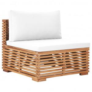 Canapea de mijloc de grădină cu perne crem, lemn masiv de tec