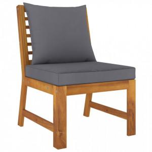 Canapea de mijloc modulară, perne gri închis, lemn masiv acacia