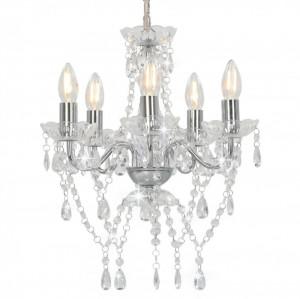 Candelabru cu mărgele de cristal, argintiu, rotund, 5 x E14