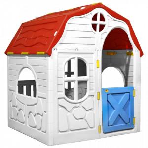 Căsuță de joacă pliabilă copii cu ușă și ferestre funcționale