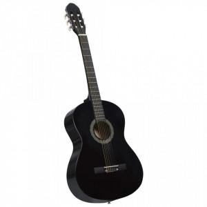 """Chitară clasică începători, negru, 4/4 39"""", lemn de tei"""