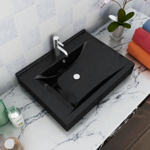 Chiuvetă dreptunghiulară din ceramică cu preaplin și scurgere 60x46 cm