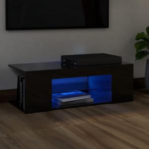 Comodă TV cu lumini LED, negru extralucios, 90x39x30 cm
