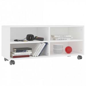 Comodă TV cu rotile, alb, 90x35x35, PAL