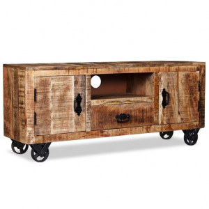 Comodă TV din lemn de mango nefinisat, 120 x 30 x 50 cm