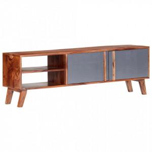 Comodă TV, gri, 140 x 30 x 45 cm, lemn masiv de sheesham