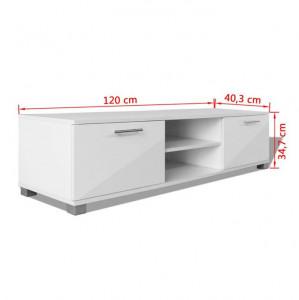 Comodă TV lucioasă 120x40,3x34,7 cm, alb