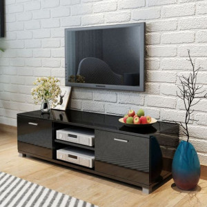 Comodă TV, negru extralucios, 140 x 40,3 x 34,7 cm