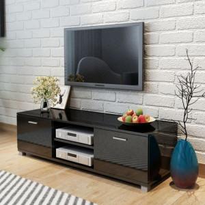 Comodă TV, negru foarte lucios, 140 x 40,3 x 34,7 cm