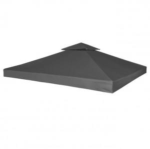 Copertină de rezervă pentru acoperiș foișor, 3x3 m, gri închis