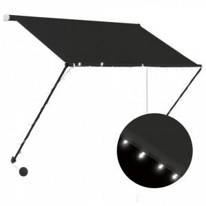 Copertină retractabilă cu LED, antracit, 200 x 150 cm
