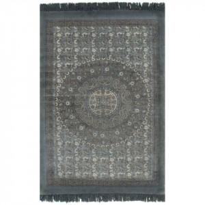 Covor Kilim, gri, 160 x 230 cm, bumbac, cu model