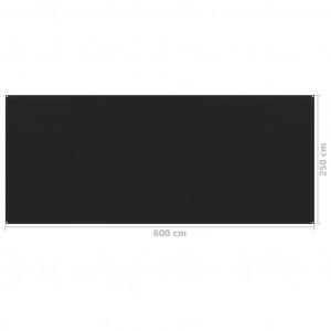 Covor pentru cort, negru, 250x600 cm