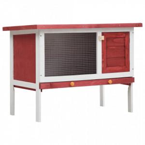 Cușcă de iepuri pentru exterior, 1 nivel, roșu, lemn