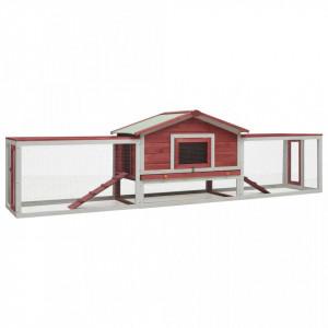 Cușcă iepuri, roșu, 303 x 60 x 86 cm, lemn masiv pin & brad