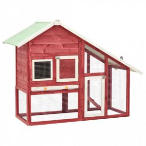 Cușcă iepuri, roșu/alb,140 x 63 x 120 cm, lemn masiv de brad