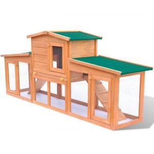 Cușcă mare iepuri cușcă adăpost animale mici cu acoperiș lemn