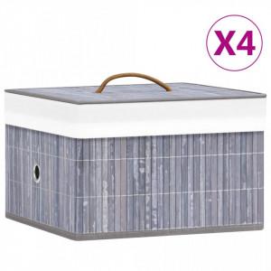 Cutii de depozitare, 4 buc., gri, bambus