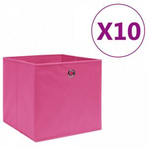 Cutii depozitare, 10 buc., roz, 28x28x28 cm, material nețesut