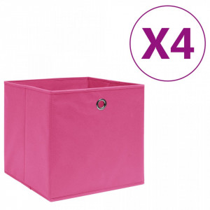 Cutii depozitare, 4 buc., roz, 28x28x28 cm, textil nețesut