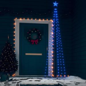 Decorațiune brad Crăciun conic 136 LED-uri albastru 70x240 cm