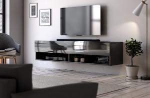 DERBY 140 TV STAND BLACK/BLACK HIGH GLOSS