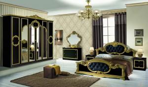 Dormitor Barocco Nero, negru/auriu, pat 160x200 cm, dulap cu 6 usi, comoda, 2 noptiere