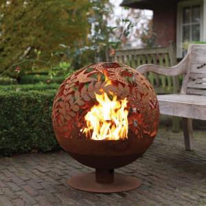 Esschert Design Bol pentru foc ruginiu model flori decupaj laser FF294