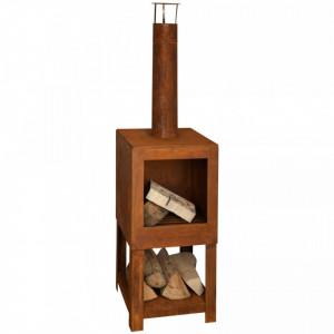 Esschert Design Șemineu de exterior cu spațiu depozitare lemne ruginiu