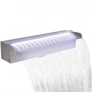 Fântână piscină dreptunghiulară, LED-uri oțel inoxidabil, 45 cm