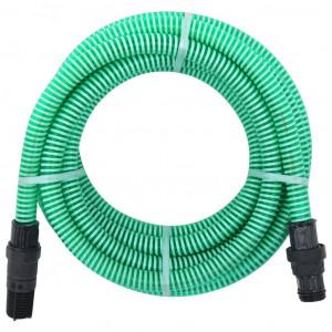 Furtun de aspirare cu racorduri din PVC, verde, 4 m, 22 mm