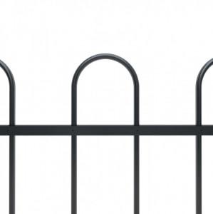 Gard de grădină cu vârf curbat, negru, 10,2 x 0,8 m, oțel