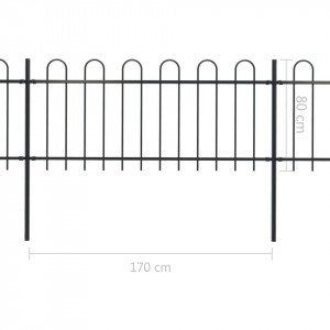 Gard de grădină cu vârf curbat, negru, 11,9 x 0,8 m, oțel