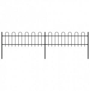 Gard de grădină cu vârf curbat, negru, 3,4 x 0,6 m, oțel