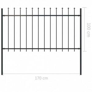 Gard de grădină cu vârf suliță, negru, 1,7 x 1 m, oțel