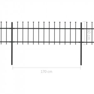 Gard de grădină cu vârf suliță, negru, 11,9 x 0,6 m, oțel