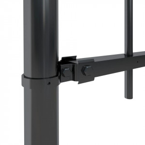 Gard de grădină cu vârf suliță, negru, 3,4 x 1,2 m, oțel