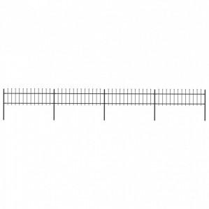 Gard de grădină cu vârf suliță, negru, 6,8 x 0,6 m, oțel