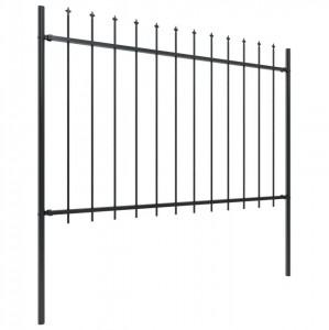 Gard de grădină cu vârf suliță, negru, 8,5 x 1,2 m, oțel