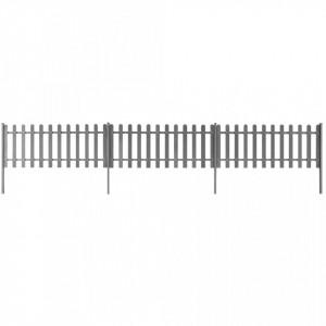 Gard din șipci cu stâlpi, 3 buc., 600 x 80 cm, WPC