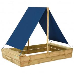 Groapă de nisip cu acoperiș, 160x100x133 cm, lemn de pin tratat