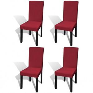 Husă elastică dreaptă pentru scaun, bordo, 4 buc.
